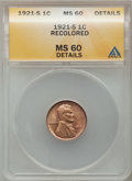 Lincoln Cents: , 1921-S 1C Brown -- Recolored -- ANACS. MS60 Details. NGC Census:(1/158). PCGS Population (4/164). Mintage: 15,274,000. Num...