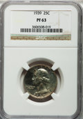Proof Washington Quarters: , 1939 25C PR63 NGC. NGC Census: (51/1077). PCGS Population(107/1644). Mintage: 8,795. Numismedia Wsl. Price for problemfre...