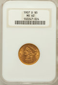 Liberty Half Eagles: , 1907-D $5 MS62 NGC. NGC Census: (1421/1461). PCGS Population(941/1508). Mintage: 888,000. Numismedia Wsl. Price for proble...