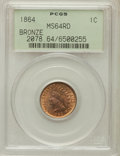 Indian Cents: , 1864 1C Bronze No L MS64 Red PCGS. PCGS Population (101/144). NGCCensus: (43/80). Mintage: 39,233,712. Numismedia Wsl. Pri...