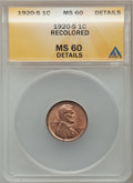 Lincoln Cents: , 1920-S 1C Brown -- Recolored -- ANACS. MS60 Details. NGC Census:(0/143). PCGS Population (2/156). Mintage: 46,220,000. Num...