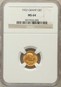 Commemorative Gold: , 1922 G$1 Grant No Star MS64 NGC. NGC Census: (300/650). PCGSPopulation (548/994). Mintage: 5,000. Numismedia Wsl. Price fo...