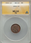Lincoln Cents: , 1921 1C MS63 Red and Brown ANACS. NGC Census: (43/138). PCGSPopulation (64/240). Mintage: 39,157,000. Numismedia Wsl. Pric...