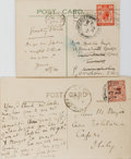 Autographs:Authors, H. G. Wells. Group of Two Related Autograph Letters Signed, Both on Postcards Showing Views of Easton Glebe, Dunmow. Very go...