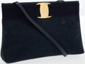 Luxury Accessories:Bags, Ferragamo Blue Suede Clutch Bag with Gold Vera Ornament and Shoulder Strap. ...