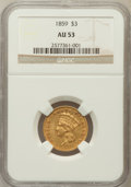 Three Dollar Gold Pieces: , 1859 $3 AU53 NGC. NGC Census: (47/389). PCGS Population (53/230).Mintage: 15,558. Numismedia Wsl. Price for problem free N...