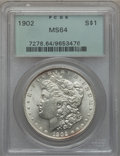 Morgan Dollars: , 1902 $1 MS64 PCGS. PCGS Population (2589/1913). NGC Census:(2375/1056). Mintage: 7,994,777. Numismedia Wsl. Price for prob...