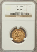 Indian Half Eagles: , 1913-S $5 AU58 NGC. NGC Census: (641/377). PCGS Population(178/298). Mintage: 408,000. Numismedia Wsl. Price for problem f...