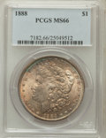 Morgan Dollars: , 1888 $1 MS66 PCGS. PCGS Population (641/16). NGC Census: (945/71).Mintage: 19,183,832. Numismedia Wsl. Price for problem f...