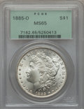 Morgan Dollars: , 1885-O $1 MS65 PCGS. PCGS Population (17485/2414). NGC Census:(26093/4866). Mintage: 9,185,000. Numismedia Wsl. Price for ...