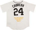 Baseball Collectibles:Uniforms, Miguel Cabrera Signed Detroit Tigers Jersey. ...
