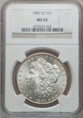 Morgan Dollars: , 1883-CC $1 MS62 NGC. NGC Census: (1342/16170). PCGS Population(2680/32583). Mintage: 1,204,000. Numismedia Wsl. Price for ...