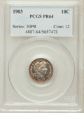 Proof Barber Dimes: , 1903 10C PR64 PCGS. PCGS Population (65/66). NGC Census: (65/88).Mintage: 755. Numismedia Wsl. Price for problem free NGC/...