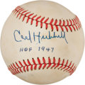 "Baseball Collectibles:Balls, Carl Hubbell ""HOF 1947"" Single Signed Baseball...."