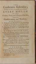Books:Natural History Books & Prints, Philip Miller. The Gardeners Kalendar. Printed for the Author, 1762. Thirteenth edition. Contemporary calf with ...