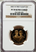 Modern Issues: , 2003-W G$10 First Flight Gold Eagle PR70 Ultra Cameo NGC. NGCCensus: (519). PCGS Population (97). Numismedia Wsl. Price f...