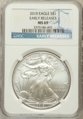Modern Bullion Coins, 2010 $1 Silver Eagle, Early Releases MS69 NGC. NGC Census:(669825/44256). PCGS Population (15154/25693)....