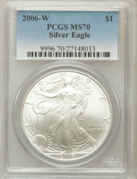 2006-W $1 Silver Eagle, Burnished, MS70 PCGS. PCGS Population: (3527). NGC Census: (10589). Mintage 466,573....(PCGS# 99...