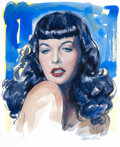 Pin-up and Glamour Art, OLIVIA DE BERARDINIS (American, b. 1948). Little Leopard, BettiePage, 2012. Watercolor on paper. 14.5 x 12 in. (image)...