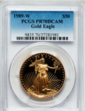 Modern Bullion Coins: , 1989-W G$50 One-Ounce Gold Eagle PR70 Deep Cameo PCGS. PCGSPopulation (307). NGC Census: (767). Mintage: 54,570. Numismedi...