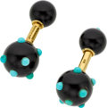 Estate Jewelry:Cufflinks, Black Onyx, Turquoise, Gold Cuff Links, Schlumberger for Tiffany& Co.. ...