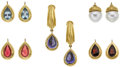 Estate Jewelry:Earrings, Multi-Stone, Gold Earrings, Cynthia Bach. ...