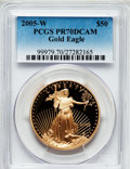 Modern Bullion Coins, 2005-W G$50 One-Ounce Gold Eagle PR70 Deep Cameo PCGS. PCGSPopulation (239). NGC Census: (1045). Numismedia Wsl. Price fo...