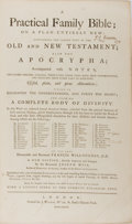 Books:Religion & Theology, [Bible]. A Practical Family Bible. J. Wilkie, 1778. Contemporary calf with wear, including abrading to corners. Join...
