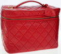 Luxury Accessories:Travel/Trunks, Chanel Red Quilted Vinyl Cosmetics Travel Bag. ...