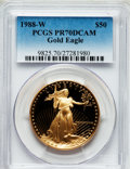 Modern Bullion Coins: , 1988-W G$50 One-Ounce Gold Eagle PR70 Deep Cameo PCGS. PCGSPopulation (307). NGC Census: (960). Mintage: 87,133. Numismedi...
