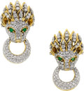 Estate Jewelry:Earrings, Diamond, Emerald, Gold Earrings. ...