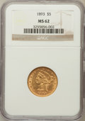 Liberty Half Eagles: , 1893 $5 MS62 NGC. NGC Census: (2612/2113). PCGS Population(1174/975). Mintage: 1,528,197. Numismedia Wsl. Price for proble...