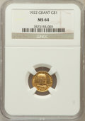 Commemorative Gold: , 1922 G$1 Grant No Star MS64 NGC. NGC Census: (301/653). PCGSPopulation (548/995). Mintage: 5,000. Numismedia Wsl. Price fo...