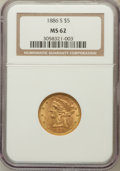 Liberty Half Eagles: , 1886-S $5 MS62 NGC. NGC Census: (3118/1542). PCGS Population(1485/1040). Mintage: 3,268,000. Numismedia Wsl. Price for pro...