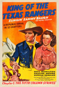 "Movie Posters:Serial, King of the Texas Rangers (Republic, 1941). One Sheet (27"" X 41"") Chapter 1 -- ""The Fifth Column Strikes."". ..."