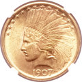 Indian Eagles, 1907 $10 No Periods MS63 NGC....