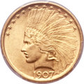 Indian Eagles, 1907 $10 No Periods MS64+ PCGS. CAC....