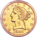 Liberty Half Eagles, 1845-D $5 AU53 PCGS. CAC. Variety 14-H (formerly 12-I)...