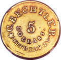 Territorial Gold, (1834-37) $5 C. Bechtler Five Dollar, 20 Distant, RUTHERF --Improperly Cleaned -- NGC Details. AU. K-19, High R.6....
