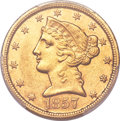 Liberty Half Eagles, 1857-C $5 AU58 PCGS. Variety 1....