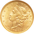 Liberty Double Eagles, 1860 $20 AU58 NGC. CAC....