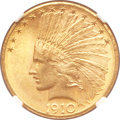 Indian Eagles, 1910-D $10 MS64+ NGC. CAC....