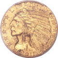 Indian Half Eagles, 1911-S $5 MS62+ PCGS....