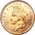 Three Dollar Gold Pieces, 1880 $3 MS64 PCGS....