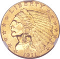 Indian Quarter Eagles, 1911-D $2 1/2 AU55 NGC....