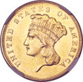 Three Dollar Gold Pieces, 1857 $3 MS61 NGC....