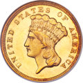 Three Dollar Gold Pieces, 1857 $3 MS65 NGC. CAC....