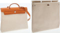 Luxury Accessories:Bags, Hermes Vache Naturale & Sand Toile Herbag MM and GM ShoulderBag. ...