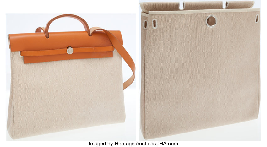c135d90bc0ff Hermes Vache Naturale   Sand Toile Herbag MM and GM