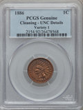 Indian Cents: , 1886 1C Type One Brown -- Cleaning -- PCGS Genuine. UNC Details.NGC Census: (1/178). PCGS Population (1/121). Mintage: 17,...